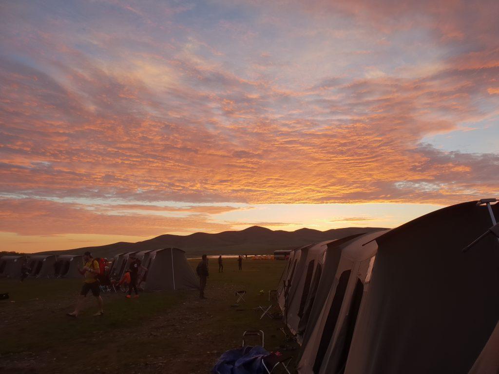 Mongolei, Landschaft, Zelte, Sonnenuntergang